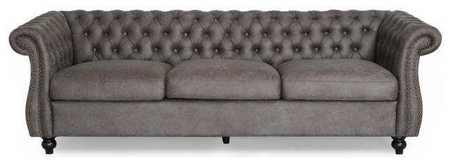 Surprising Gdf Studio Vita Chesterfield Microfiber Sofa With Scroll Arms Slate Dark Brown Uwap Interior Chair Design Uwaporg