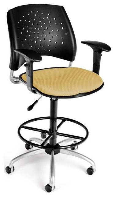Ofm Star Swivel Chair With Arms And Drafting Kit In Golden Flax.