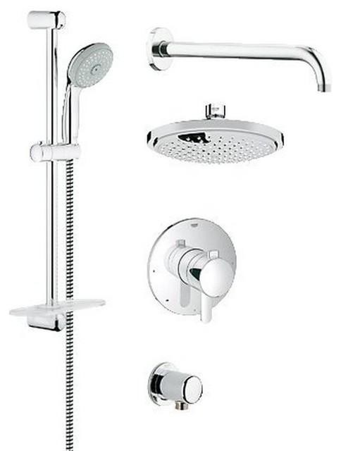 Grohe Europlus New Pressure Balance Valve Bath/Shower Trimset, Chrome
