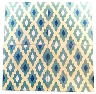 "Moroccan Handmade Cement Mosaic Tile, 8""x8"" Geometric Design, Set of 12"