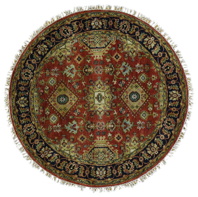Fine Round Persian Bidjar Area Rug Hand Knotted Wool And: 4'x4' Hand-Knotted Round Rust Red Karajeh 100 Percent Wool