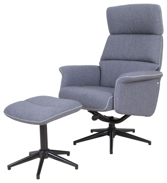 Alden Fabric Swivel And Recliner Lounge Chair With Ottoman