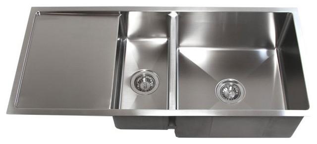 42 Stainless Steel Undermount Double Bowl Kitchen Sink Drain Board