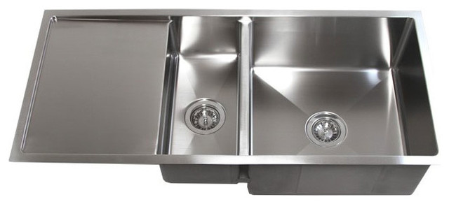 42 Stainless Steel Undermount Double Bowl Kitchen Sink With Drain Board Contemporary