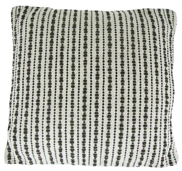 "Hand Woven Splash Pillow, Black, 22""x22""."