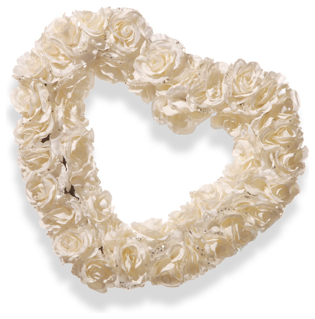 "White Rose Heart Wreath, 17""."