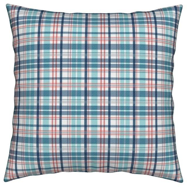 Nautical Red Plaid Throw Pillow, Organic Sateen