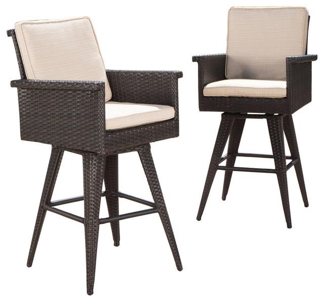 Gdf Studio Marbella Outdoor Dark Wicker Barstools With Cushions Set Of 2