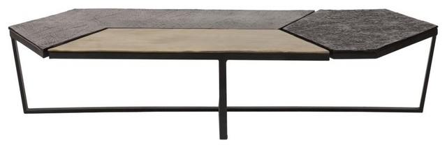 61 4 W Coffee Table Sleek Modern Low Profile Geometric Mosaic Tile Top Metal Contemporary Coffee Tables By Noble Origins Home