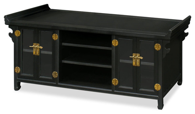 Elmwood Altar Style Media Cabinet Distressed Black