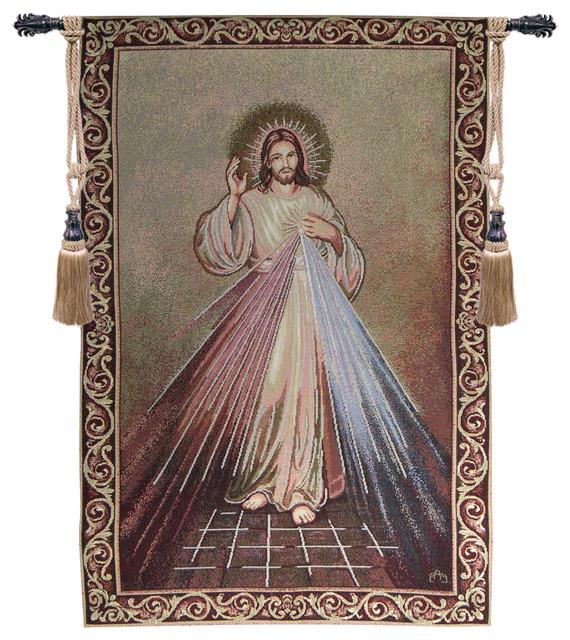 Jesus Wall Art merciful jesus - traditional - tapestries -european wall art