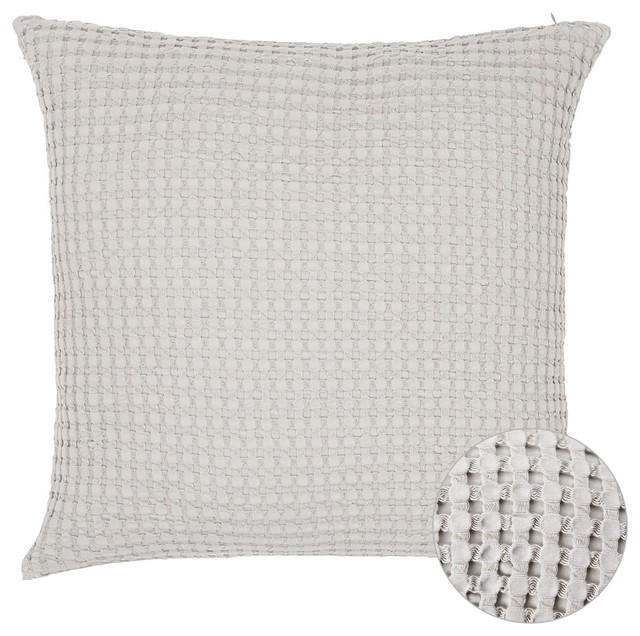 Squares Waffle Cotton Pillow Cover Light Gray