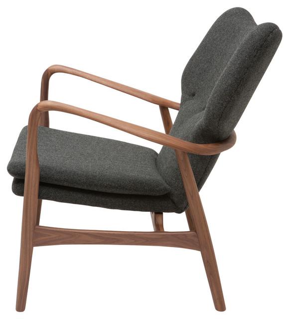 Patrik Lounge Chair, Dark Gray, Material: Tweed Midcentury Armchairs And