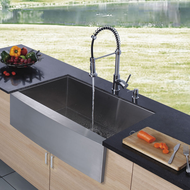 VIGO Platinum Series Farmhouse Kitchen Sink Faucet VG15002  : modern kitchen sinks from www.houzz.com size 640 x 640 jpeg 111kB