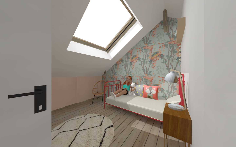 Aménagement des combles d'une maison de plein pied, option 2 la chambre