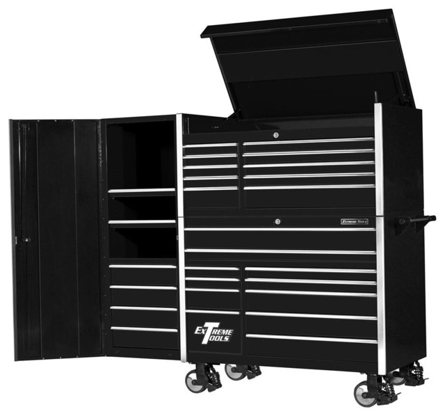 Extreme Tools - 11 Drawer Steel Roller Cabinet w Tool Top Chest - Black Finish - View in Your ...