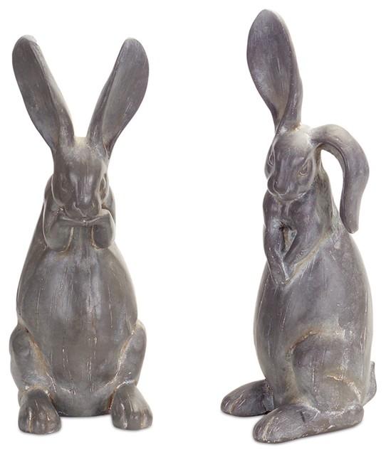 Rabbit Figurine, Set Of 2, Gray