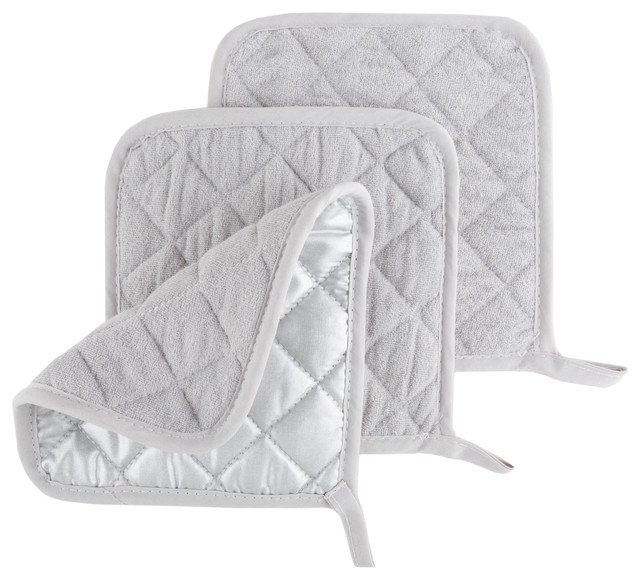 3 Piece Set Of Heat Resistant Quilted Cotton Pot Holders By Lavish Home, Silver