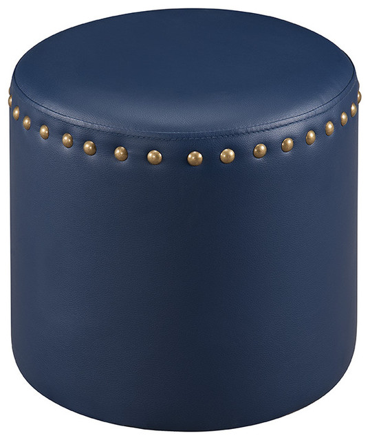 Andrea Upholstered Ottoman With Nailhead Trim Blue