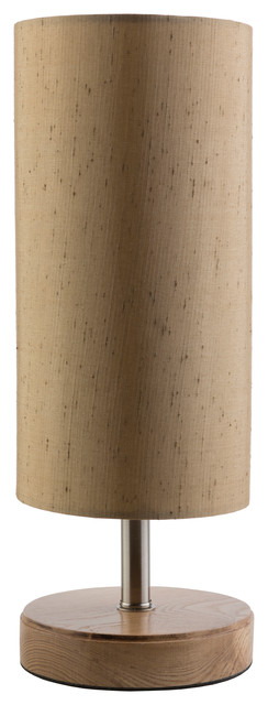 Denton Cylindrical Torch Table Lamp, Gold/Natural contemporary-table-lamps
