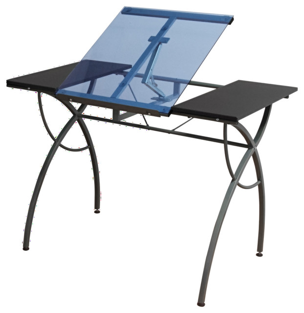 Studio Design Drafting Table studio designs 42in vintage drafting table rustic oak 13305 Catalina Craft Table Pewter And Blue Glass Contemporary Drafting Tables