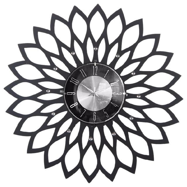"Black And White Wall Clock sunflower clock 20"" - wall clocks -mid century decor"