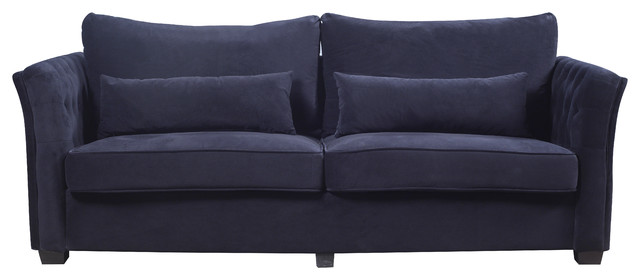 Classic And Traditional Velvet Fabric Loveseat With Tufted Details, Black.