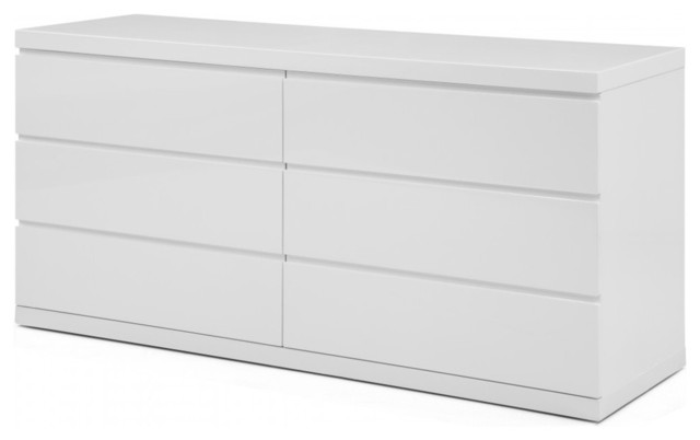 Anna Dresser Double High Gloss White Full Extension Drawers