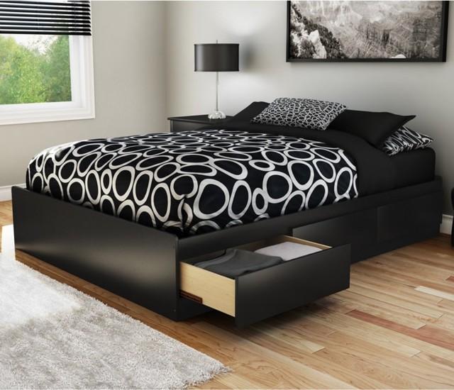 Sandbox Full Storage Platform Bed - Black modern-beds
