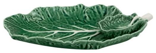 Bordallo Pinheiro Cabbage Ceramic Plate With Small Bowl