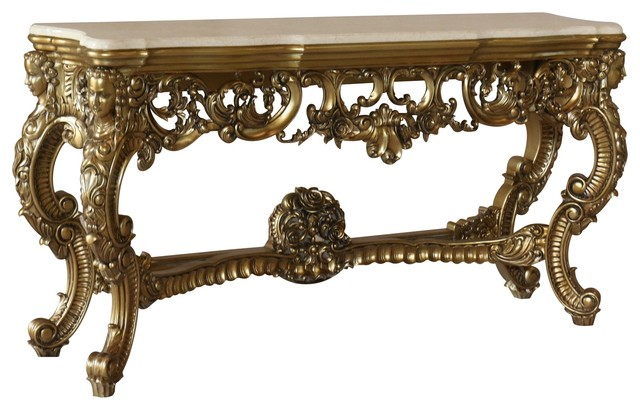 Ambrogio Victorian Console Table With Marble Top