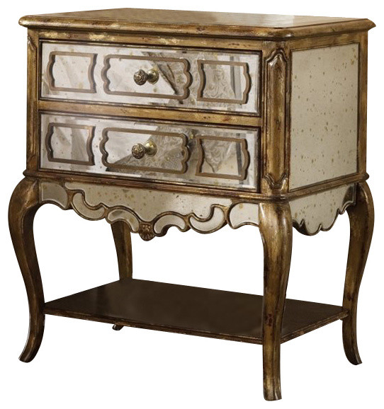 Sanctuary Mirrored Leg Nightstand-Bling - Traditional ...