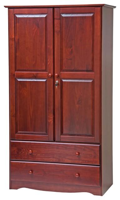 100% Solid Wood  Smart Wardrobe/Armoire/Closet, Mahogany