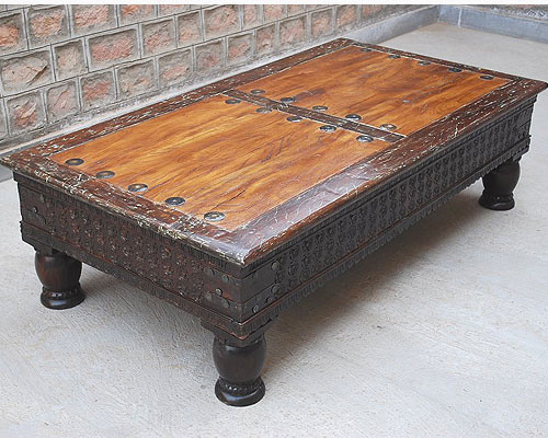 Rustic Reclaimed Wood Carved Cocktail Sofa Rare Coffee Table Traditional Coffee Tables