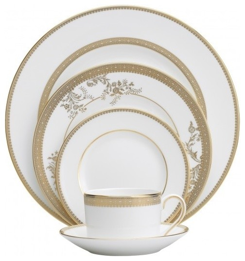 Vera Wang Vera Lace Gold 5-Piece Place Setting traditional-dinnerware-sets