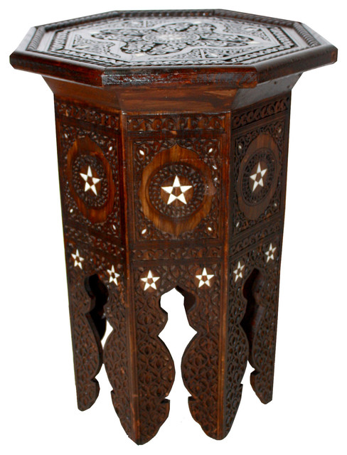 Moroccan Mother of Pearl Inlay Side Table Mediterranean Side