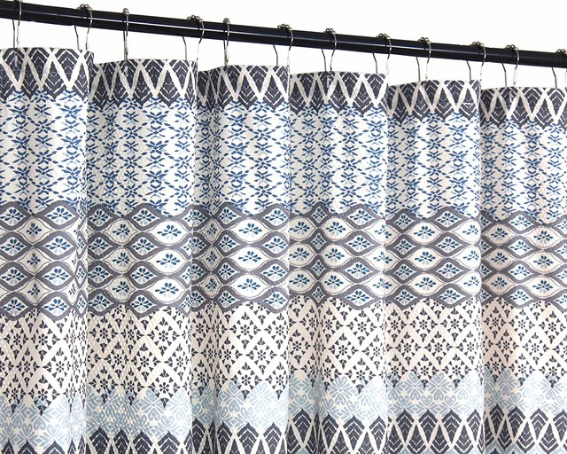 Teal Blue Gray Beige Fabric Shower Curtain Floral Geometric