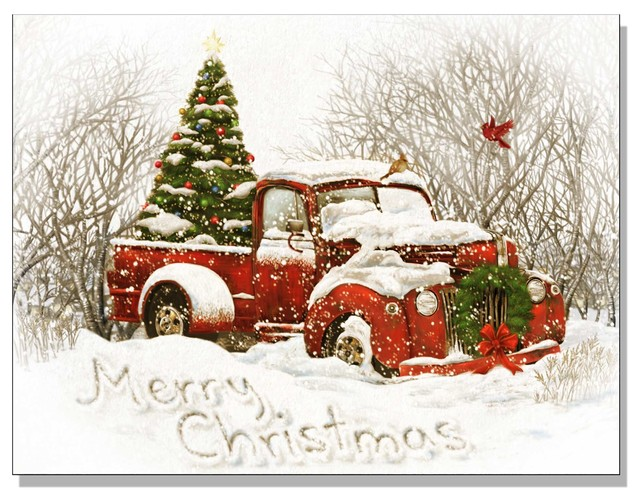 Lighted Canvas Quot Vintage Christmas Tree Truck