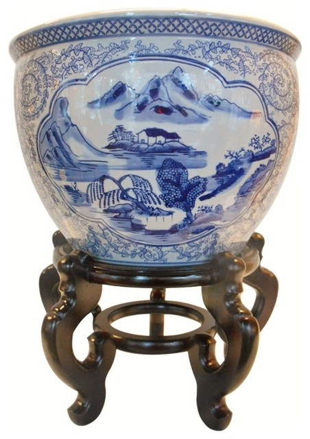 Blue And White Asian Porcelain Garden Pot Painted
