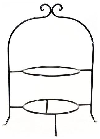 "Handmade Wrought Iron Double Tier Plate Rack, 16""x8"""