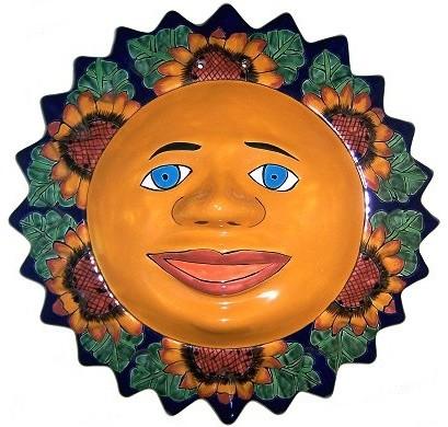 Sunflower Talavera Ceramic Sun Face Southwestern Outdoor Wall Art By Fine Crafts Imports