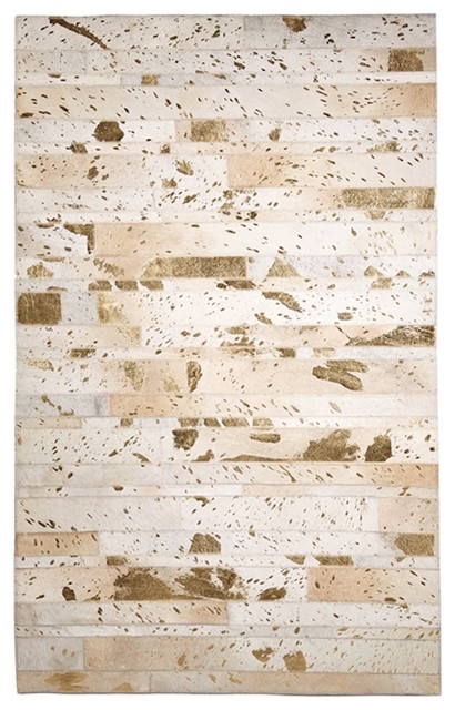 Tozai Golden Natural Cowhide 3' x 5' Area Rug in Metallic Gold