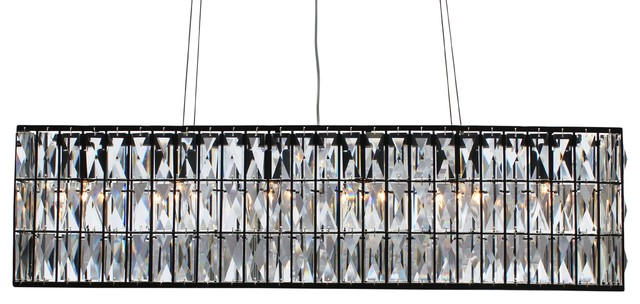 The Monroe Clear Crystal Rectangular Chandeliier Black Finish
