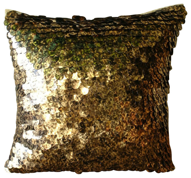 exotic gold n black scales gold art silk throw pillow covers 14x14 - Black Decorative Pillows