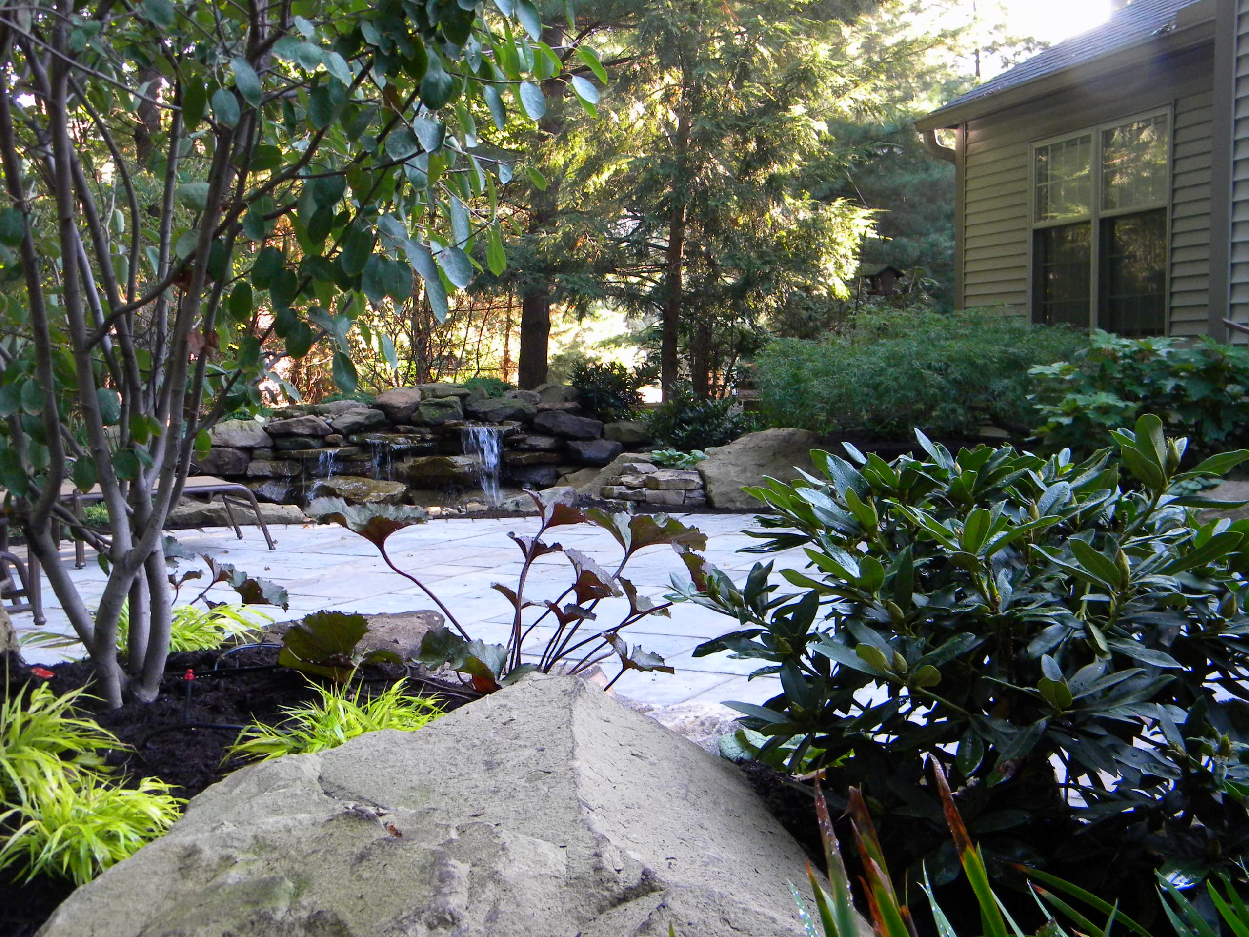 Blue Stone Patio and Waterfall