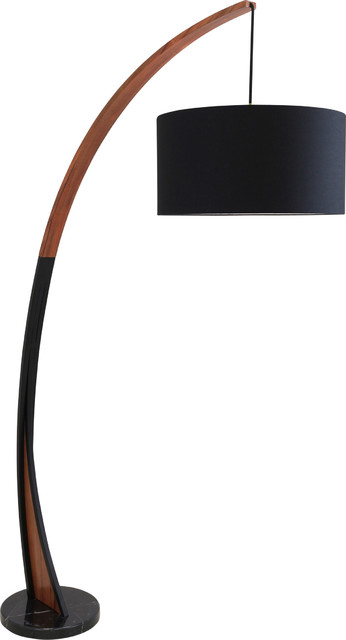 Beau Lumi Source Noah Floor Lamp, Walnut Wood Frame And Marble Base