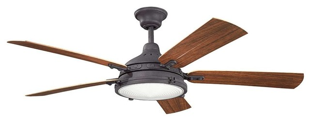"Kichler Hatteras Bay Patio Outdoor Ceiling Fan, Distressed Black, 60""."