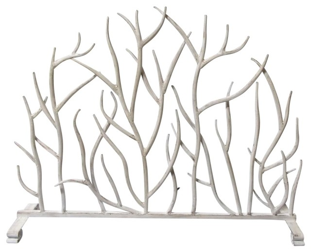 Fireplace Screen Iron Twig Antique White Contemporary