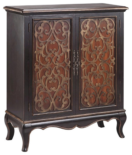 Al Kalb Al Rai MDF Solid Wood Cabinet, Antique Black, Golden Brown, 15