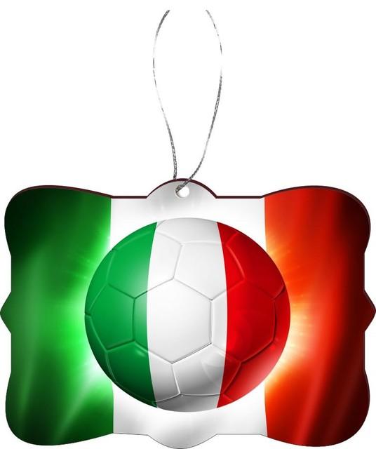 Italy Italia Football Soccer Flag Design Rectangle Christmas Tree Ornament  - Industrial - Christmas Ornaments - by Rikki Knight LLC - Italy Italia Football Soccer Flag Design Rectangle Christmas Tree